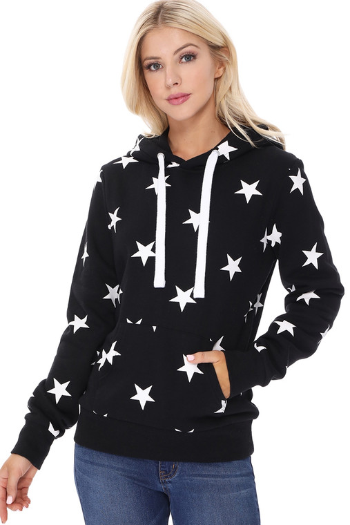 Show your Patriotic Spirit with this All Over Star Black Hoodie. Perfect to show your love for the red, white and blue on Memorial Day, Flag Day and Fourth of July. But the black color makes it perfect for all times, not just our patriotic holidays! A nice weight sweatshirt to keep you cozy on a cool summer's night. Pairs perfectly with leggings, jeans, crops and shorts.