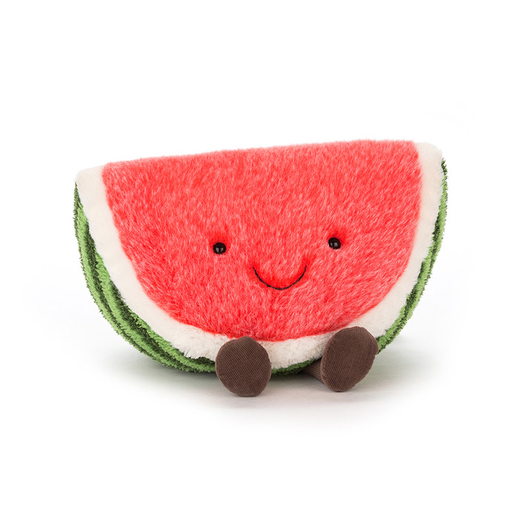 Amuseable Watermelon is pink, green and cuddly all over! A slice of sheer sillyness, full of Jellycat goodness, this fluffy fruit is full of fun. Buddies come in all shapes and sizes, and there ain't no cuddle like a watermelon cuddle. Cheery and merry wit SAFETY & CARE Tested to and passes the European Safety Standard for toys: EN71 parts 1, 2 & 3 for all ages. Suitable from birth. Huge and Large sizes - please do not leave in a cot/ crib. Hand wash only; do not tumble dry, dry clean or iron. Not recommended to clean in a washing machine. Check all labels upon arrival of purchase.