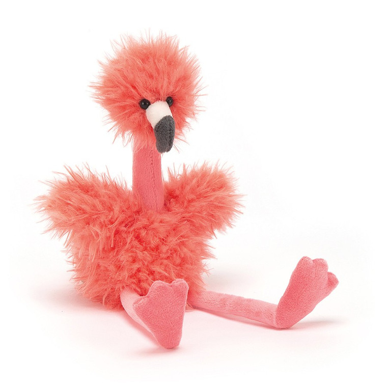 Bonbon Flamingo is goofy-gorgeous, from fluffy pink head to flappy flipper feet! This funny flamingo has salmon-sassy fur, a proud stand-up neck and waggly wings! A firework of fun with a neat two-tone beak, this merry Bonbon knows the best fishing spots! SAFETY & CARE Tested to and passes the European Safety Standard for toys: EN71 parts 1, 2 & 3 for all ages. Not recommended for children under 12 months due to fibre shedding. Hand wash only; do not tumble dry, dry clean or iron. Not recommended to clean in a washing machine. Check all labels upon arrival of purchase.