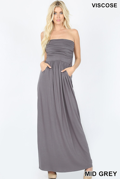 A maxi dress is great, but a maxi dress with pockets is a must have! This cute little number can be casual or dressed up for a night on the town. Its simple design allows you to easily accessorize. Made out of the softest stretchy fabric, it creates a nice fit that doesn't slip.  POLYESTER 22%, VISCOSE 75%, ELASTANE 3%