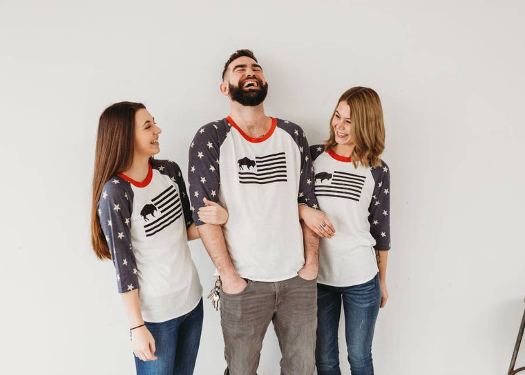 Star and stripe buffalo flag baseball tee that is perfect to shopw your year-ropund patriotic spirit!  Unisex sizing.