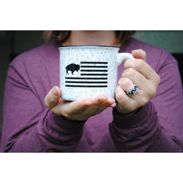 This Buffalo flag ceramic camping mug shows your hometown pride no matter where the road takes ya.