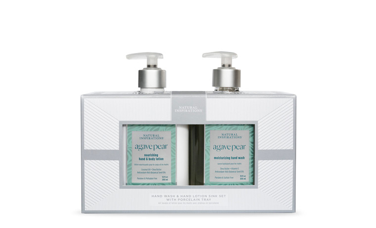 Agave Pear Hand Wash & Hand Lotion Sink Set with Porcelain Tray