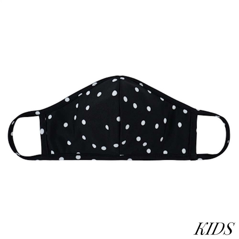 KIDS Reusable Black & White Polka Dot T-Shirt Cloth Face Mask with Seam.
