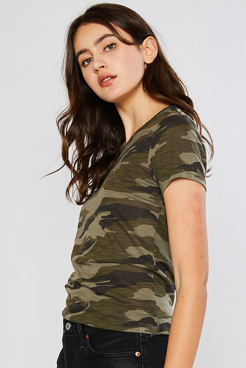 A basic tee that isn't so basic. It has some hidden attitude disguised in that camo. It fits just right in all the right places and has a camo that is just perfect.  Fits true to size.