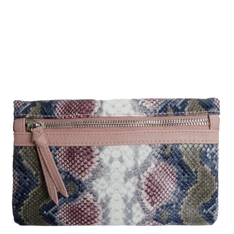 """This wristlet/crossbody is perfect for travel, shopping – anywhere you want to go hands free but still carry all the important stuff. Built-in credit card slots, two zipper pockets and an ID window make it the perfect organizer!  Specific details include:  48"""" crossbody strap Additional removable wristlet strap Double snap closure Outside back zipper pocket Inside zipper pocket and ID window Six built-in RFID Protected Card Slots Vegan leather interior Silver hardware Vegan leather Dimensions: 8""""W x 5""""H x 1""""D"""