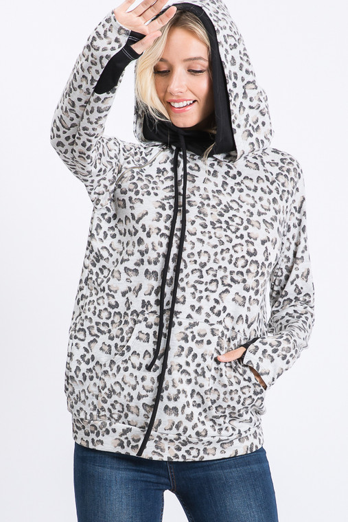A new pattern in your favorite style double hooded, side zip hoodie. This light colored leopard print is bold, but understated. It is a perfect addition to your hoodie collections!