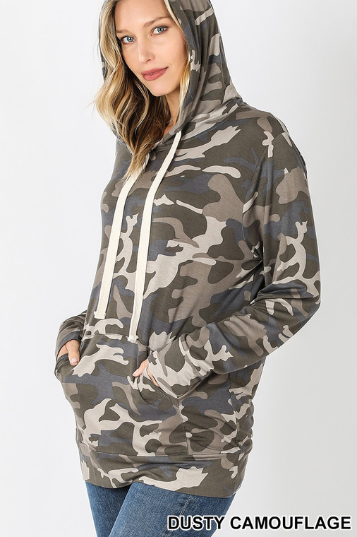 Stretchy and Oh-So-Soft is the perfect combo, made even more perfect in this trendy camo pattern. The lightweight material make this long sleeved t-shirt hoodie a year-round staple in your wardrobe.