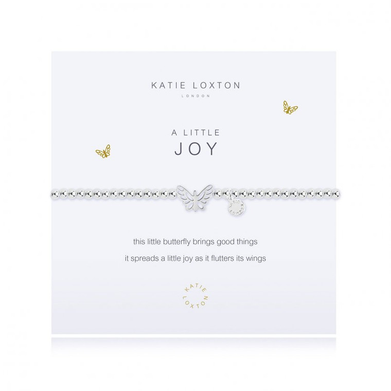 This little butterfly brings good things it spreads a little joy as it flutters its wings     Our loved 'A Little' collection is filled with pretty charms perfect for celebrating every special occasion. Each beautiful silver-plated bracelet is wrapped around a lovely card, finished with a sweet poem and meaningful sentiment, the perfect gift or little treat.  Silver Stretch Bracelet.