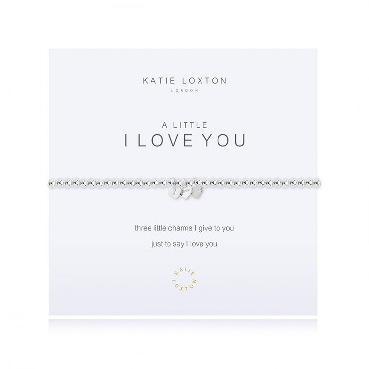 Three little charms I give to you just to say I love you     Our loved 'A Little' collection is filled with pretty charms perfect for celebrating every special occasion. Each beautiful silver-plated bracelet is wrapped around a lovely card, finished with a sweet poem and meaningful sentiment, the perfect gift or little treat.  Silver Stretch Bracelet.