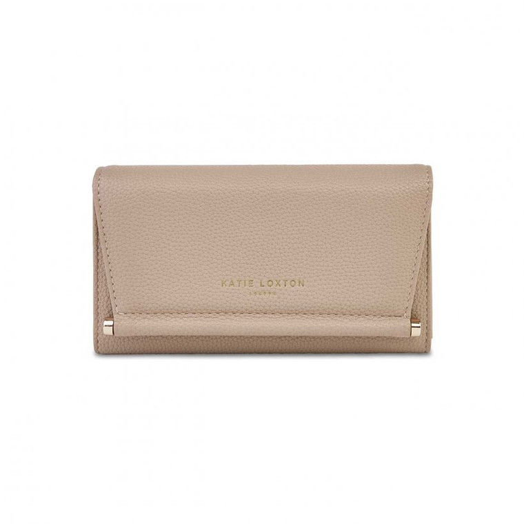 Sleek, structured and chic, upgrade your everyday must-haves with the Ava wallet!  Practical without compromising on style, this gorgeous taupe wallet opens up to reveal lots of handy card slots and a zipped middle pocket for any loose change. We love how the luxe faux-leather material is complemented by an eye-catching gold bar for a gorgeous statement look.
