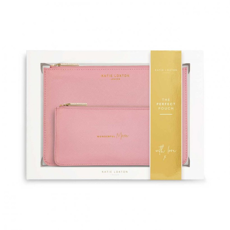 Make a perfect impression with this must-have gift of the season! This super special set includes a Perfect Pouch and chic slim pouch. Including a shimmering pink colored Perfect Pouch for a little everyday chic, as well as a complementing slim pouch with the golden sentiment 'Wonderful Mom'.  Whether they're tucked into one another or worn separately for two gorgeous looks, this Perfect Pouch set is a treat that anyone can fall in love with forever. They are presented in a gorgeous gift box, ready for you to send on the happiness!