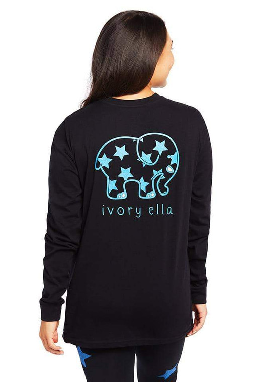 """You'll be starry-eyed for our newest heritage long sleeve! Cozy, comfy, and 10% of net profits go to Save The Elephants and other charitable causes.  100% Organic Cotton Imported  Machine wash cold Screen printed locally in Rhode Island with metallic ink Model Is 5'7"""" wearing size small  10% of profits will go to Save The Elephants."""