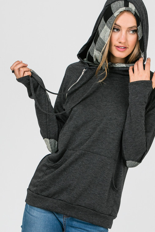 This light weight double hooded, side zip hoodie is the perfect addition to your year-round wardrobe. It's tee shirt material makes it great for a cool summer night, yet it is thick enough to pair with your favorite bottoms on a cold winter's day. Fits true to size.