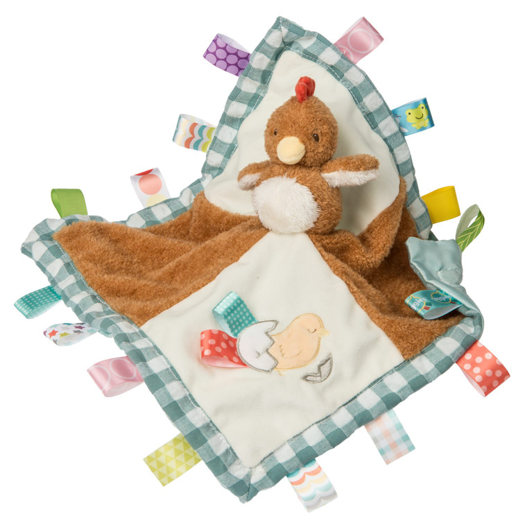 13×13″ Chikki Chicken's whimsical character is a fun addition to our Barnyard Friends. Introduce baby to barnyard sounds with Chikki Chicken. Three different plush fabrics and 16 Taggies looped ribbons adorn this gender neutral cutie. Lined with sage colored satin.  13″ x 13″ Three different plush fabrics 16 Taggies ribbons Fuzzy, longer pile Gingham trim Sage colored satin backed blanket Labeled machine wash, air dry