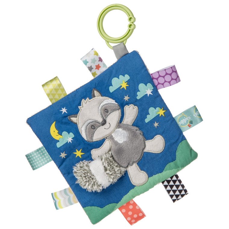 6″ x 6″ Part soother, part activity toy. Coordinates with the Heather & Harley collection. Each Crinkle Me Taggies has fun character appliques and colorful patterns on the outside, crinkle paper and a squeaker on the inside. Flexible loop for attaching to stroller and crib. 8 Taggies ribbons. Labeled machine wash, air dry.  6×6″ Upscale look Part soother, part activity toy Crinkle paper and squeaker inside 8 Taggies ribbons Flexible loop for attaching to stroller and crib Labeled machine wash, air dry
