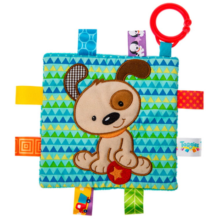 6″ x 6″ Part soother, part activity toy. Each Crinkle Me Taggies has fun character appliques and colorful patterns on the outside, crinkle paper and a squeaker on the inside. Flexible loop for attaching to stroller and crib. 8 Taggies ribbons. Crinkle paper and squeaker inside. Labeled machine wash, air dry.