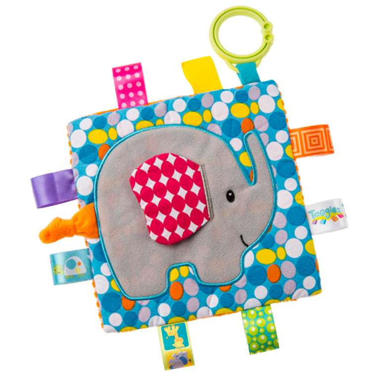 6.5″ x 6.5″. Part soother, part activity toy. Taggies Crinkle Me Fox has fun character applique on colorful pattern. Crinkle paper and a squeaker on the inside. Flexible loop for attaching to stroller and crib. 8 Taggies ribbons. Crinkle paper and squeaker inside. Labeled machine wash, air dry.