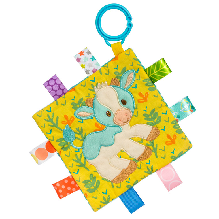 Casey Cow is the staple Taggies barnyard friend, and has become a gender neutral favorite. This character shows off it's colorful Taggies ribbons beautifully.Casey has earned a steady following of Barnyard fans, farm friends always make popular baby gifts!  Each Crinkle Me Taggies has fun character appliques and colorful patterns on the outside, crinkle paper and a squeaker on the inside.  6.5″ x 6.5″ Part soother, part activity toy Embroidered details Crinkle paper and squeaker inside Coordinates with theBarnyard collection 8 Taggies ribbons Flexible loop for attaching to stroller and crib Labeled machine wash, air dry