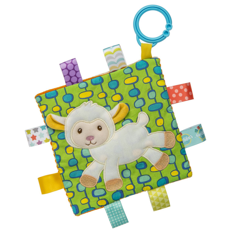 6.5″ x 6.5″ Part soother, part activity toy. Coordinates with the Sherbet Lamb soft book, soft toy, blanket, and lovey collection.  Each Crinkle Me Taggies has fun character appliques and colorful patterns on the outside, crinkle paper and a squeaker on the inside. Flexible loop for attaching to stroller and crib. 8 Taggies ribbons. Labeled machine wash, air dry.