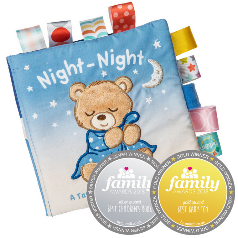 Looking for a soothing toy for boys and girls? Say goodnight with Starry Night Teddy, our adorable bear, that's the perfect, gender neutral companion for day or night.  6″ x 6″ Book featuring Starry Night Teddy in a fun, calming, short bedtime story.  Fabric applique cover. Lots of Taggies ribbons. 8 pages. Velcro closure. Crinkle paper and squeaker inside. Book pages get darker as the story goes on. Labeled machine wash, air dry.