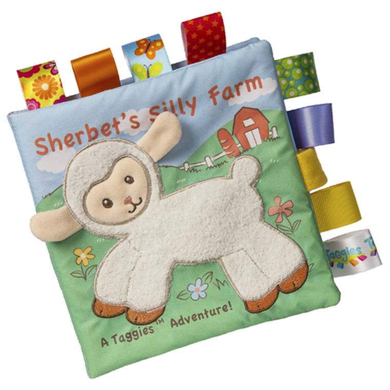 6″ x 6″ Book featuring Sherbet Lamb in a fun, short story. Fabric applique cover. Lots of Taggies ribbons. 8 pages. Velcro closure. Crinkle paper and squeaker inside. Labeled machine wash, air dry.