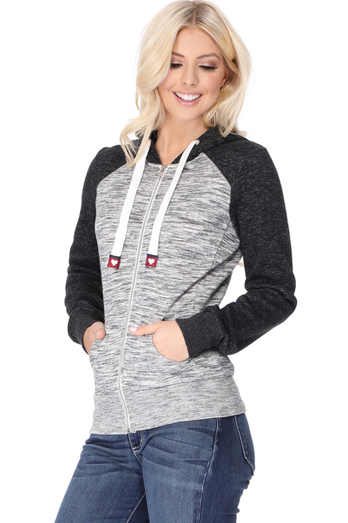 A staple in every closet! This Zip up Raglan SLeeve Hoodie will do the trick wherever your day takes you. Pairs well will jeans, leggings, shorts and capris. * Tag details at the end of the drawstring tip * Cozy Brushed Fleece * Self Lined with Adjustable Drawstring Hood * Raglan Long Sleeve Banded Cuffs & Hem * Front split kangaroo pocket * Pre-Washed for a NO-Shrink True Fit