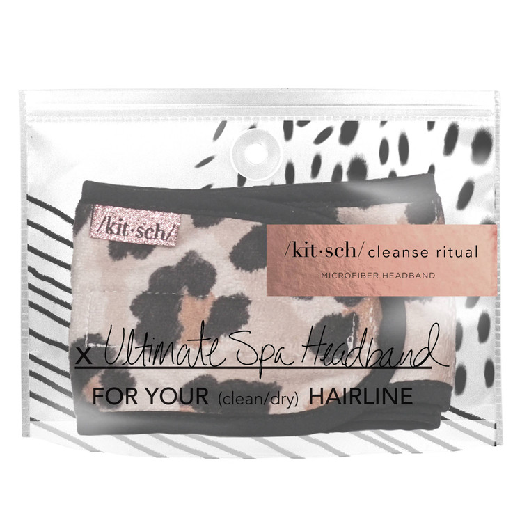 The KITSCH microfiber spa headband is a multi-functional piece essential for everyone. This headband serves the function of a headband and a hair tie together. Look chic and cut a step out of your beauty routine by using this multi-purposeful headband.   Benefits: • Essential addition to your daily skin care ritual • Multi-tasking headband & pony in-one • Keeps hair out of face while cleansing, applying makeup or face masks • Helps keep hair dry and clean • Built-in ponytail holder saves your style & prevents pony dents • Stylish design • Packaging functions as a reusable waterproof travel pouch