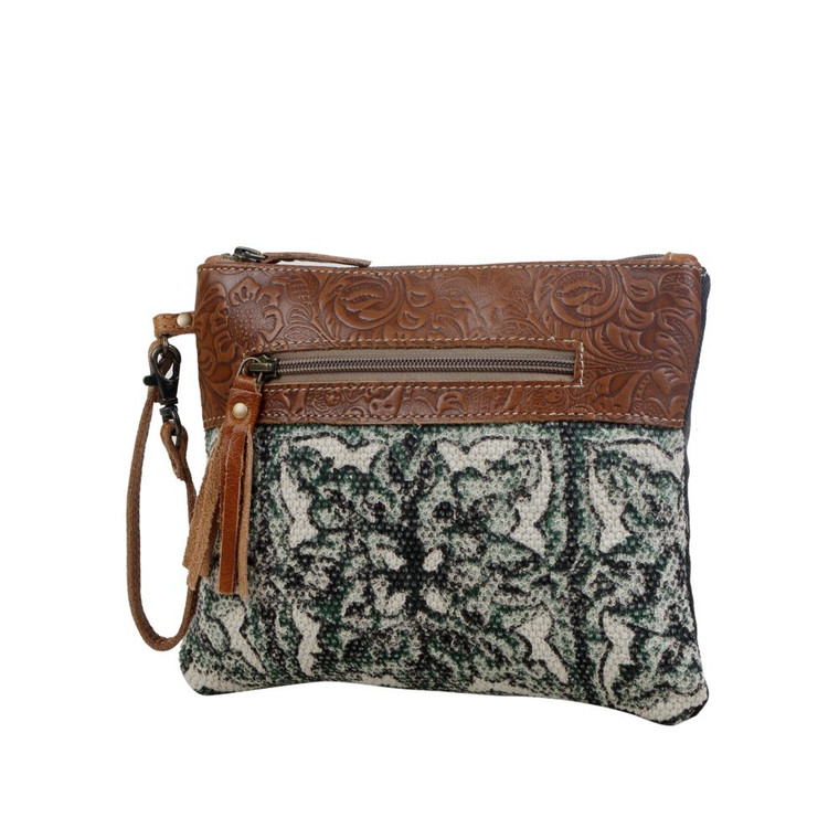 A lightweight pouch redesigned from a unique handwoven rug and embossed leather. It exudes elegance and is tailored to a standard of perfection.  Made of upcycled canvas and leather.  Additional Information