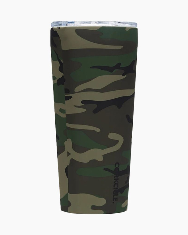 Triple insulation, stainless steel, and a vacuum seal help this Corkcicle Tumbler keep your beverage cold for 9 hours and hot for 3 hours. With features like easy-grip sides, a no-slip bottom and a spill-resistant, drink-through lid, it's the ultimate in on-the-go sipping! Plus, the tumbler's rugged Woodland Camo print is ideal for your next outdoor adventure, whatever it may be.  Vacuum sealed Includes shatterproof, spill-resistant plastic lid Easy-grip flat sides BPA-free Silky, soft-touch finish Easy-grip sides No-slip silicone bottom