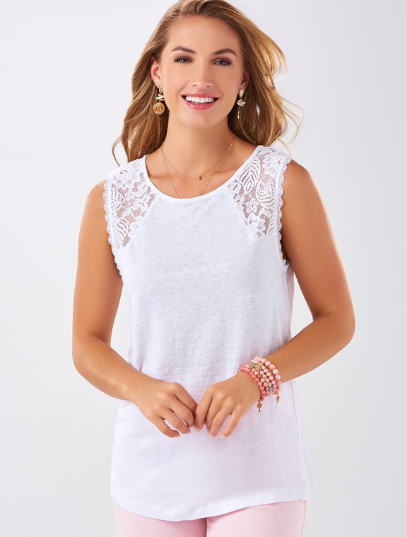 Get a casual and stylish look with this white tank with lace detail on the shoulders.  Rayon, Polyester.