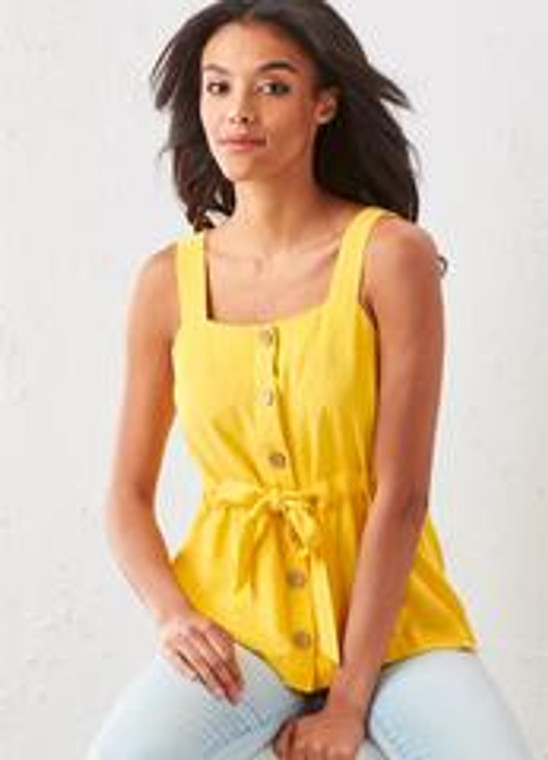A fun twist on a classic tank top, this button down opening with wide straps and fabric drawstring accentuate the waist for a snug fit.