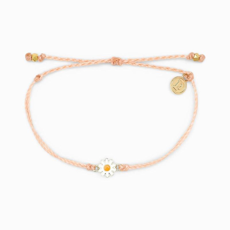 """You'll be looking fresh as a daisy when you rock this adorable charm bracelet. Featuring a double-string band and teensy daisy charm, it adds a feminine, whimsical vibe to any (and every) outfit.  Adjustable from 2"""" to 5"""" Gold-tone charm and """"P"""" charm 100% waterproof"""
