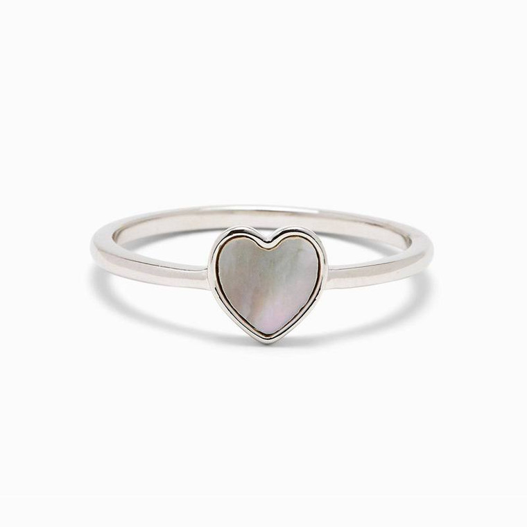 Our motto: Always follow your heart. *Especially* when it's leading you to our Heart of Pearl Ring! This stackable style has a heart-shaped charm filled with a Mother of Pearl stone. Each stone is 100% genuine, so no two look alike.