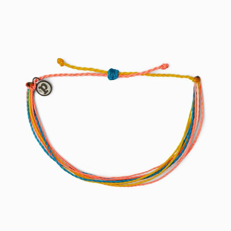 """You'll be looking so """"berry cute"""" with this colorful bracelet from Pura Vida in shades of blue, purple, and black! Made from 100% waterproof cord and so much fun to wear and layer, it can follow you anywhere spring and summer take you - with a little boho flair thrown in!  Adjustable from 2-5 Inches in Diameter Wax-coated cord is 100% waterproof Pura Vida logo charm"""