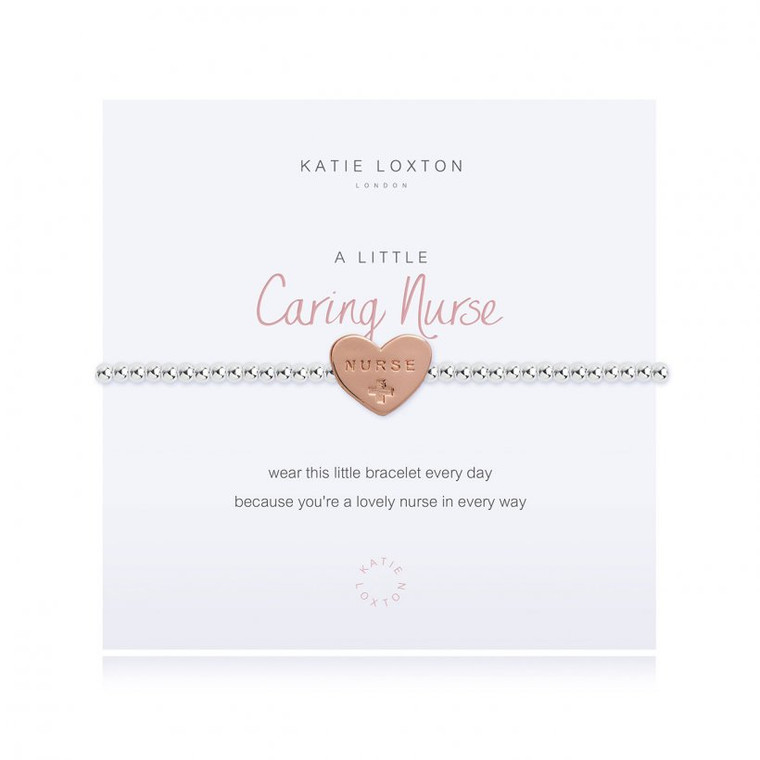 wear this little bracelet every day, because you're a lovely nurse in every way  Our loved 'A Little' collection is filled with pretty charms perfect for celebrating every special occasion. Each beautiful silver-plated bracelet is wrapped around a lovely card, finished with a sweet poem and meaningful sentiment, the perfect gift or little treat.  Silver Stretch Bracelet.