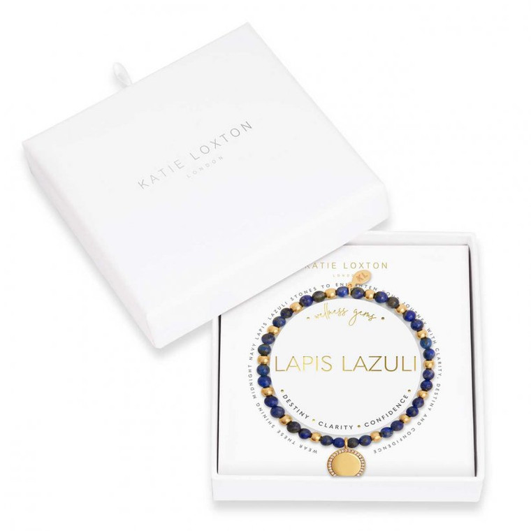 Wear these shining midnight navy lapis lazuli stones to enlighten your journey with clarity, destiny and confidence.     Carefully designed to radiate positivity and encourage beautiful mantras into your life, this beautiful Wellness Gem bracelet is finished with real semi-precious lapis lazuli stones and a golden wellness charm that's intricately inscribed with this bracelet's powerful property.