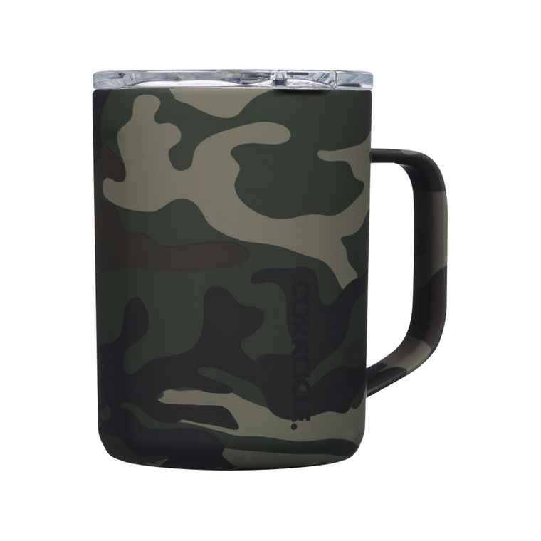 """This CORKCICLE 16 oz. mug is perfect for enjoying your favorite hot or cold beverages on the go.  PRODUCT FEATURES  Includes: 16 oz. Stainless Steel Mug and BPA Free Lid with Slider 4.8"""" x 4.5"""" x 3.46"""" Dishwasher safe Handheld  PRODUCT CONSTRUCTION & CARE  Stainless Steel"""