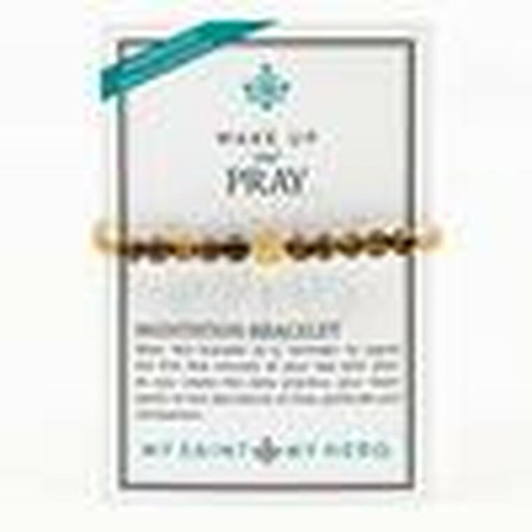 """WAKE UP AND PRAY Tiger's Eye   Strength Wear this bracelet as a reminder to spend the first few minutes of your day with God. As you create this daily practice, your heart opens to the abundance of love, gratitude and compassion.  For Men and Women – adjustable bracelet cording which opens to 9.5"""" diameter, closes to 6.25"""" Handwoven in Medjugorje, Bosnia and Herzegovina 10 genuine tiger's eye 6mm gemstones Natural gemstones vary slightly Silver or gold-tone Benedictine Medal of protection and """"blessed"""" tag Medals made in Italy Wake Up and Pray Meditation Bracelet - Tiger's Eye comes on an inspirational card"""