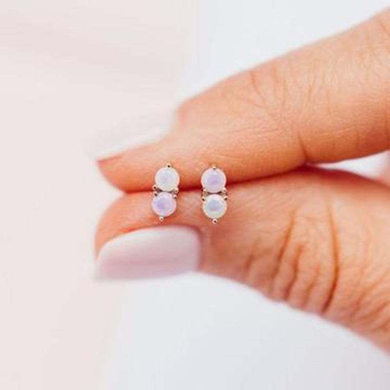 A white and pink prong set cubic zirconia stones come together to make these beautiful, lightweight stud earrings that are perfect for everyday wear.   Solid Sterling Silver Two, 3mm Cubic Zirconia Stones Friction Backing Nickel Free