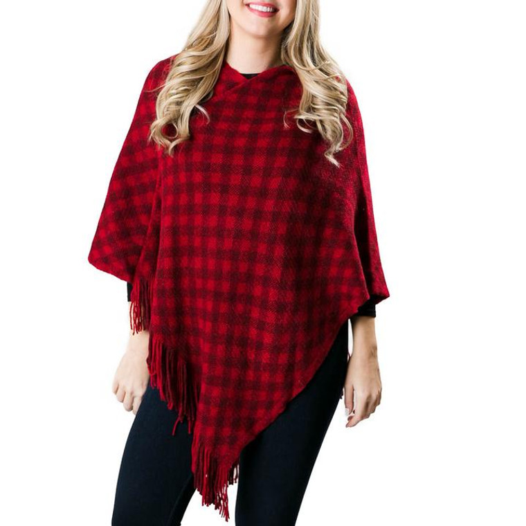 Stay warm, stylish and cozy this season in our Fallon Buffalo Plaid Poncho! Available in 2 colors, this poncho looks great with leggings or with jeans. Add boots or booties and you are styling for everywhereyou want to be this fall.One size fits most with fringe detailing.  Details & Care:  One Size 100%Acrylic 32''L X 34''W Machine wash, do not tumble dry