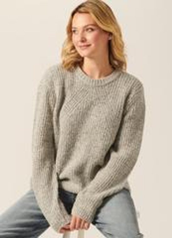 Crew neck long sleeves in a relaxed easy casual fit knit in a blended plush boucle yarn with super soft hand which highlights the diagonal knit rib texture a super cozy knit for indoors or out61%Acrylic 35%Polyester 4%Spandex .