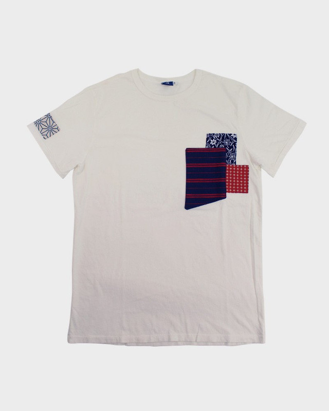 Patched Tee, White Stripes/Sashiko
