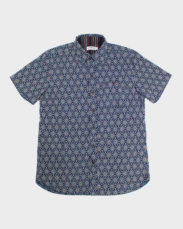 Short Sleeve Button-Up, Asanoha