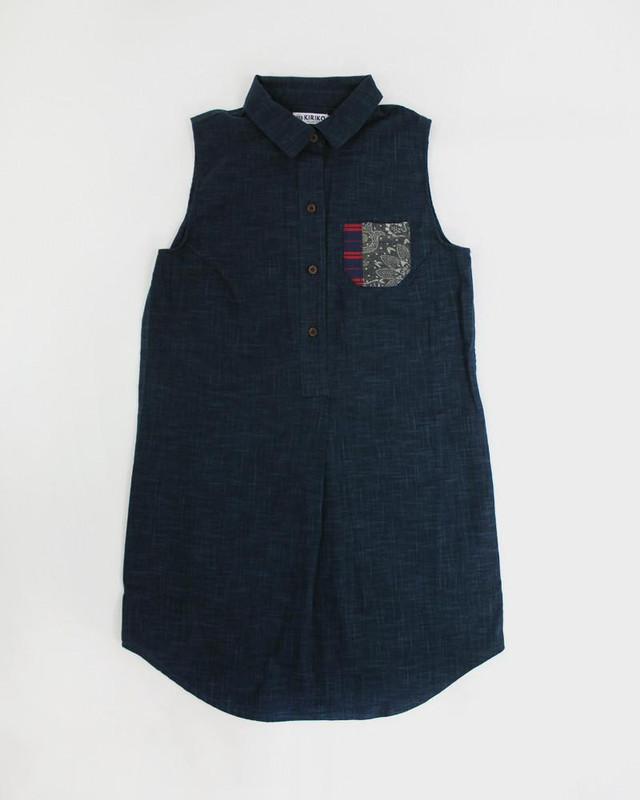 Long Sleeveless Shirt Dress, Vintage Pocket