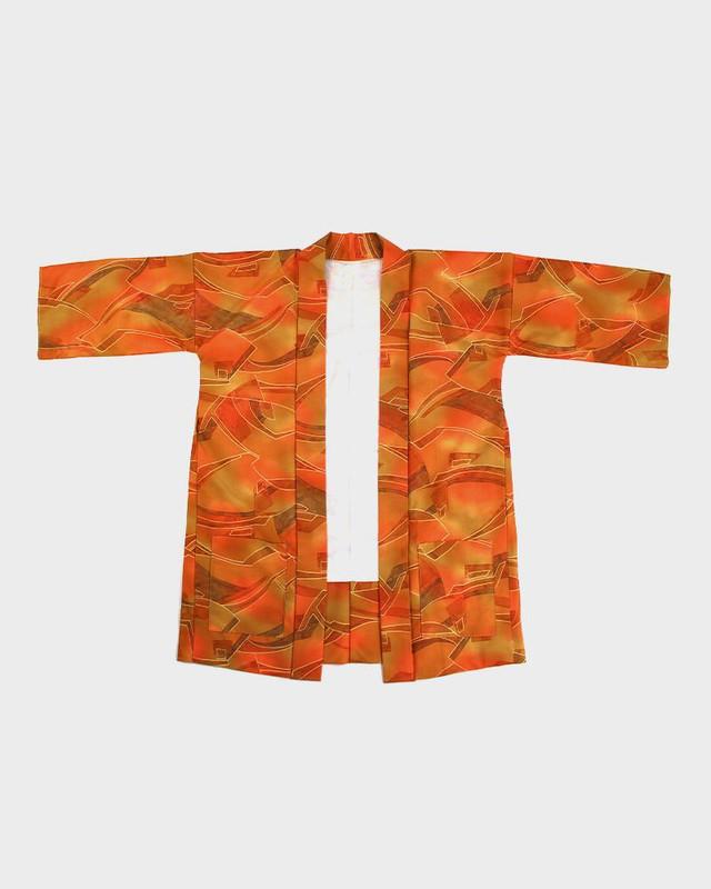 Modern Cut Kimono Haori Jacket, Brown and Orange Lines
