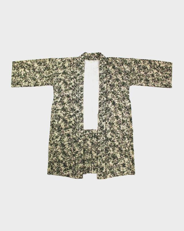 Modern Cut Kimono Haori Jacket, Green Momiji