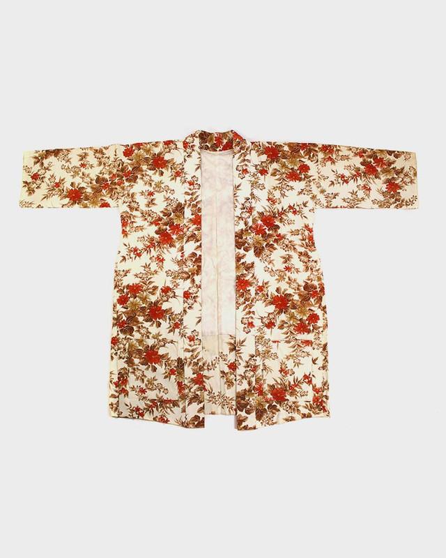 Modern Cut Kimono Haori Jacket, Beige and Red Floral