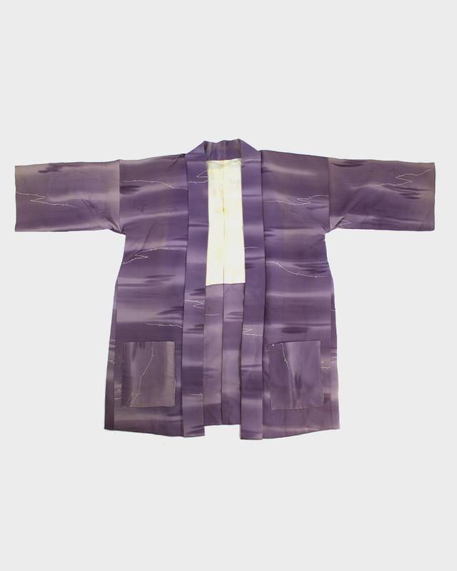 Modern Cut Kimono Haori Jacket, Purple Fade With Vines