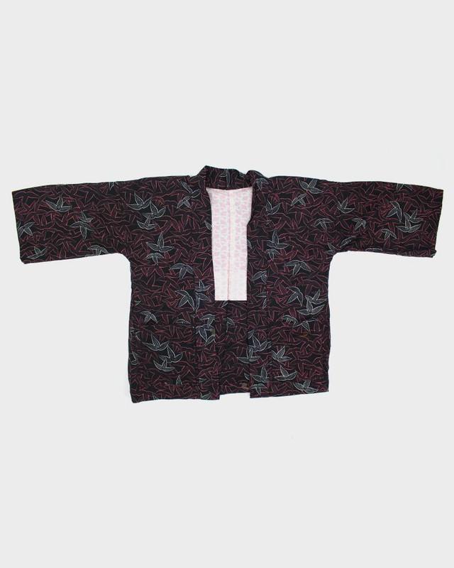 Modern Cut Haori Jacket, Black with Peach Colored Leaves